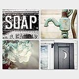 Bathroom Decor Set of 4 Photographs - Discount - Rustic Bathroom Wall Art in Aqua Black and Teal.