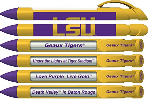 LSU (Louisiana State University) Tigers Greeting Pen Rotating Message Pens - 4 Pack (8013) Officially Licensed Collegiate Product