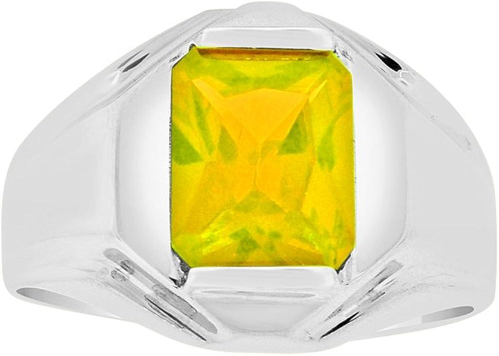 Classic Ring Men Guy Gent Synthetic Nov Birthstone Yellow CZ White Rhodium Plated Metal