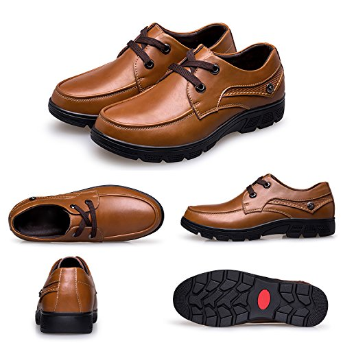 discount codes clearance store authentic sale online PHILDA Wide Width Men's Oxford Formal Modern Classic Lace-up Dress Shoes Business Genuine Cow Leather Light Brown lowest price online cheap amazon store with big discount QgMCGDd
