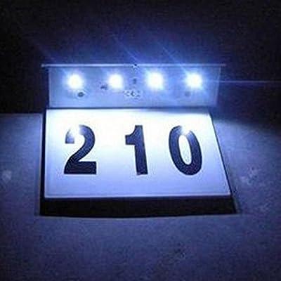 LIYUDL Solar Powered house address number Lamp Light,3W 4 LED Waterproof Doorplate Stainless Steel Light