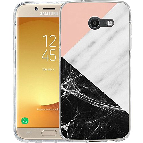 For Samsung Galaxy J7 V / J7 2017 / J7 Prime / J7 Perx / J7 Sky Pro / Galaxy Halo Case, TPU Rubber Soft Skin Silicone Protective Case Cover Pink marble patchwork design ()