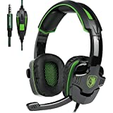 Gaming Headset with Mic In-line Volume Control for Xbox One PS4 PC Mac iPad iPod Laptop Computer Smart phones, Sades SA930 3.5mm Noise Isolation Bass Surround Over-Ear Headphones(Valentine's Day gift)