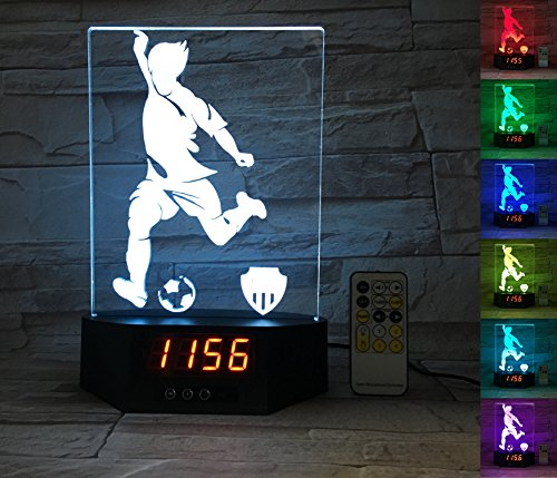 Night Switching (ATOMFIT SOCCER SPORT 3D LED Night Light for Home, Table or Desk Lamp, 3D LED Illusion Lamp With 7 Color Switching, Effects - 3D LED Clock Base With Temperature Sensor, Perfect Sports Fan Gift)