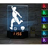 ATOMFIT SOCCER SPORT 3D LED Night Light for Home, Table or Desk Lamp, 3D LED Illusion Lamp With 7 Color Switching, Effects - 3D LED Clock Base With Temperature Sensor, Perfect Sports Fan Gift