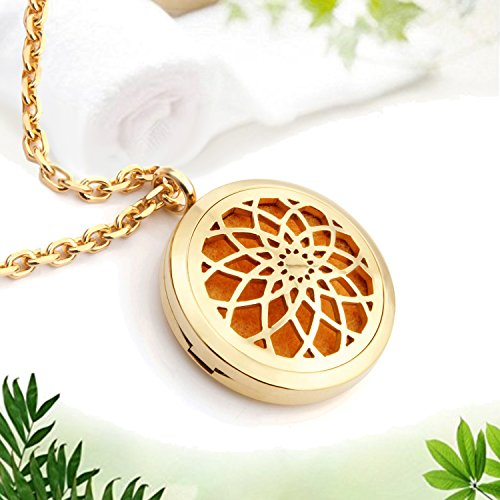EVERLEAD Sharefashion Hollow Mixed Locket Pendant For Fragrance Essential Oil Aromatherapy Diffuser Necklace -