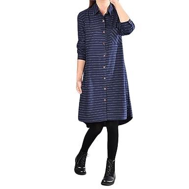 f38acd006b9 JIANGfu Robes Femme Elegante Femmes d été Les Femmes Occasionnels Coton  rayé et Lin Manches