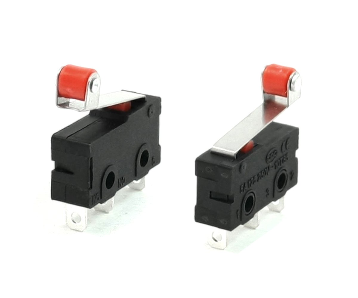 YXQ AC 250V 5A SPDT 1NO 1NC Momentary Hinge Lever Limit Switch Mini Miniature 3 Terminal Roller Arm Snap Action Black 12 Pcs
