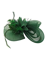 ThaliaDress Women's Mesh Fascinator Party Hat with for Dance Tea Party Wedding T008TS Green
