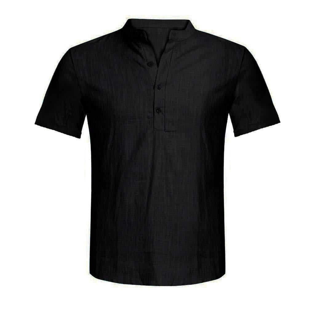 Mens Cotton Linen Shirts Beach Short Sleeve Frog Button Up Tops Lightweight Tees Plain Summer Mandarin Collar Blouses Black