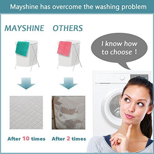 MAYSHINE 31x59 inch Absorbent Microfiber Quick Drying Chenille Shaggy Machine washable Dog Runner Doormats and bed mat - Dark Blue