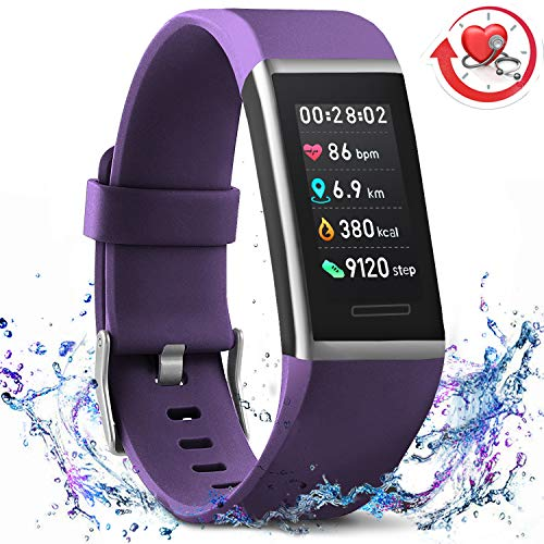 MorePro X-Core Fitness Tracker HR, Waterproof Color Screen Activity Tracker with Heart Rate Blood Pressure Monitor, Smart Wristband Pedometer Watch with Step Calories Counter, Purple
