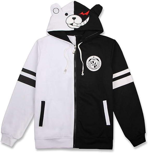 Large BAIMORE Danganronpa Monokuma Anime Zipper Hoodie Black /& White Bear Unisex Short Sleeve Cosplay T-Shirt Black//White/_4