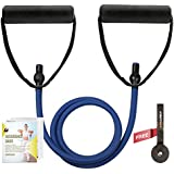 RitFit Single Resistance Exercise Band With Comfortable Handles - Ideal for Physical Therapy, Strength Training, Muscle Toning - Door Anchor and Starter Guide INCLUDED
