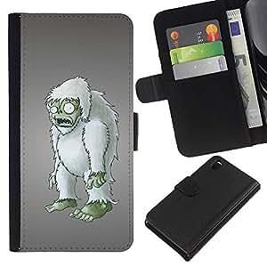 KingStore / Leather Etui en cuir / Sony Xperia Z3 D6603 / Zombie embargo Arte del mu?eco peludo Figurita 3D
