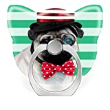 360°Rotation Grip Mobile Phone Finger Ring Holder for All Smartphone and Tablets with Car Mount Stand Gentlemen Pug Dog