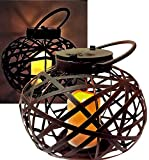 Brilliant & Mo Metal Rattan Solar Hanging Lanterns Oriental Style for Outdoors Garden Decoration with Flickering Candle Light For Home Patio Deck Lawn Yard Decor