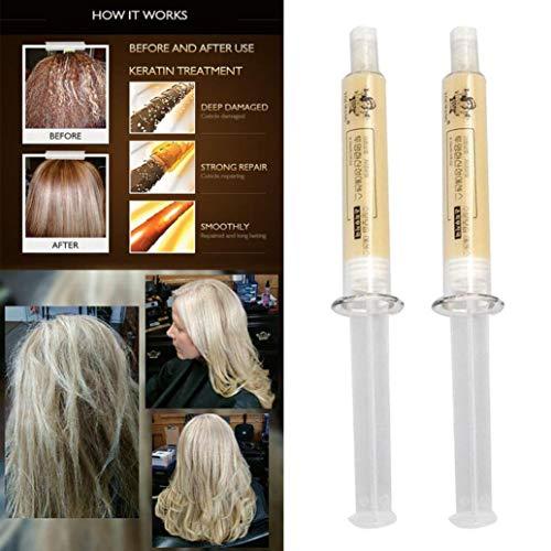 Sdoo 2pcs Hydrating Hair Treatment Therapy Keratin Repair Damaged Maintenance Hair Mask (B)