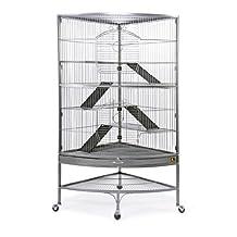 Prevue Hendryx Pet Products Corner Ferret Cage, Black Hammertone