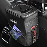 HOTOR Car Trash Can with Lid and Storage Pockets, 100% Leak-Proof Car Organizer, Waterproof Car Garbage Can, Multipurpose Trash Bin for Car - Black: more info