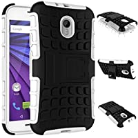 Motorola Moto G (3rd Generation) Case, DRUnKQUEEn Heavy Duty Rugged Hybrid Armor Dual Layer Hard Shell Tire Tread Grenade Grip Combat Tyre Textured Cover with Kickstand