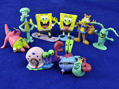 8pc Set SpongeBob Squarepants Patrick Star Squidward Tentacles PVC Action Figure