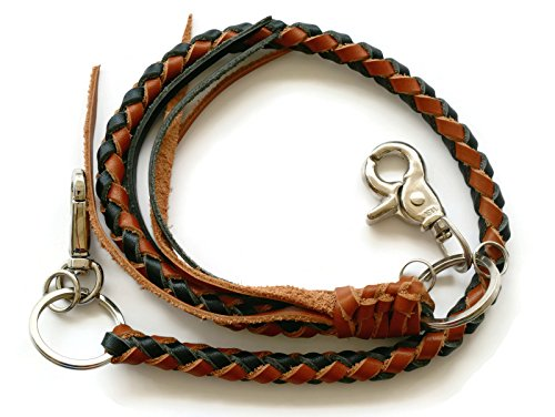 BrownBeans, Mens Teens Braided Leather Lanyard Wallet Chain Fob Key Holder Wallet Strap (BBKC7007) - Wallet Bikers Leather Holder