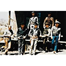 Steve McQueen, Yul Brynner, Charles Bronson, Robert Vaughn, Brad Dexter, James Coburn and Horst Buchholz in The Magnificent Seven 24x36 Poster color