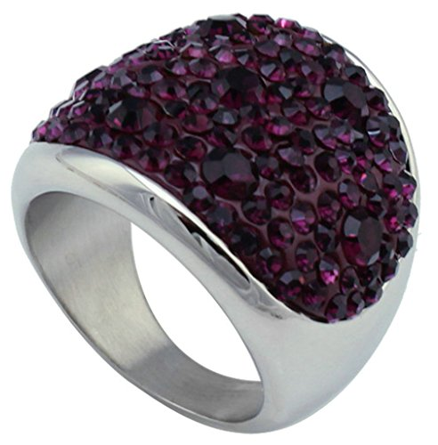 Aooaz Jewelry Purple Cubic Zirconia Inlaid Stainless Steel Ring for Women Silver
