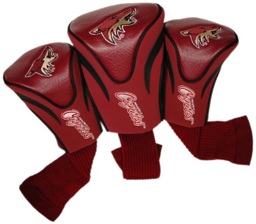 Team Golf NHL Arizona Coyotes Contour Golf Club Headcovers (3 Count), Numbered 1, 3, & X, Fits Oversized Drivers, Utility, Rescue & Fairway Clubs, Velour lined for Extra Club Protection