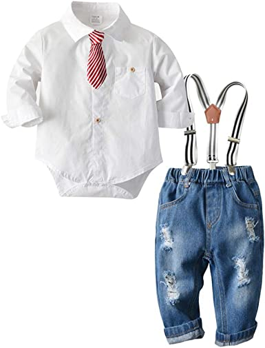 Kids Boys Baby Formal Suit Shirt Tops Suspender Long Pants Outfits Clothes Sets
