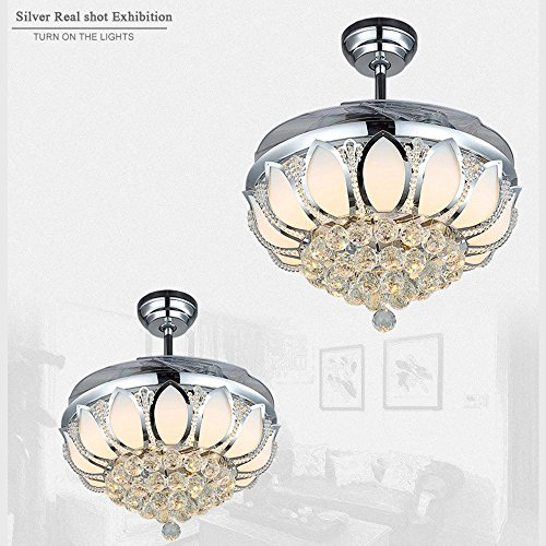 Luxury Modern Crystal Chandelier Ceiling Fan Lamp Folding Ceiling Fans With Lights Chrome Ceiling Fan With Light Dining Room Decorative with Remote Control (Support Dimming) by LSSD (Image #3)