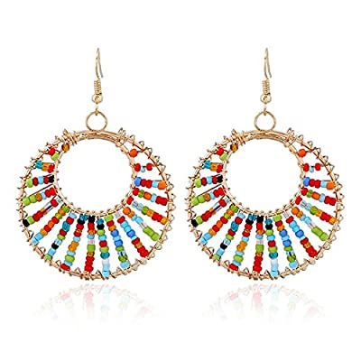 discount Bohemian Colorful Beaded Dangle Earrings - Gold Plated Hollow Hoop Earring for Women get discount