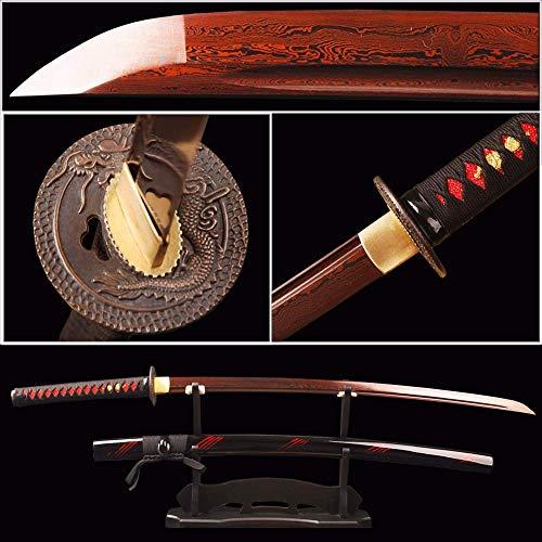 - Yongli Sword Handmade Full Tang Japanese Katana Red Damascus Folded Steel Samurai Sword Sharp Edge