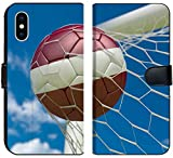 Luxlady iPhone X Flip Fabric Wallet Case Image ID: 34533116 Latvia Flag and Soccer Ball Football in Goal net