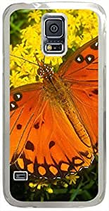 Animals & Birds Gulf-Fritillary Cases for Samsung Galaxy S5 I9600 with Transparent Skin