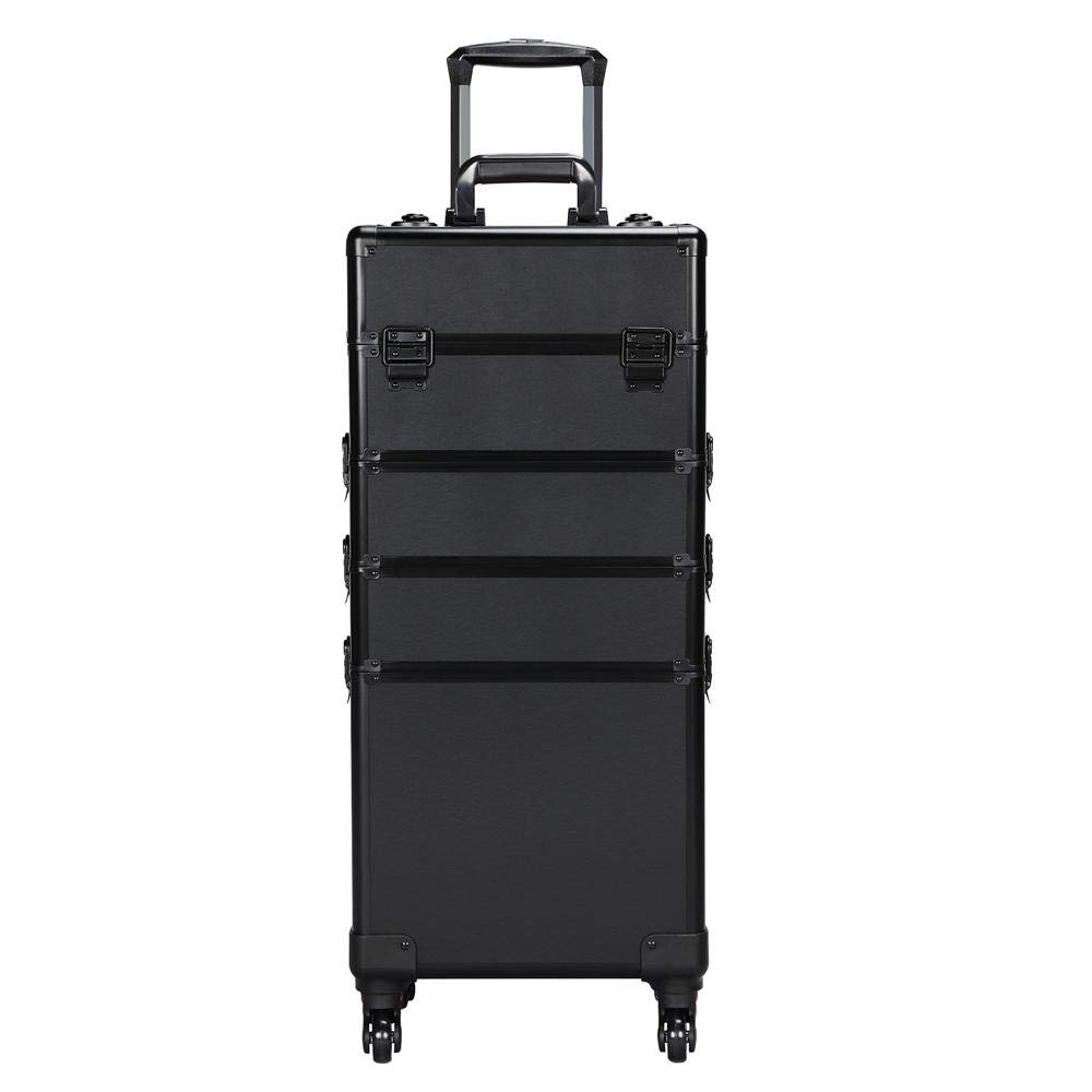 Yaheetech Extra Large Makeup Case Rolling Cosmetic Trolley with Makeup Brush Bag Lock Cosmetic Organizer Full Black Spinner Wheels