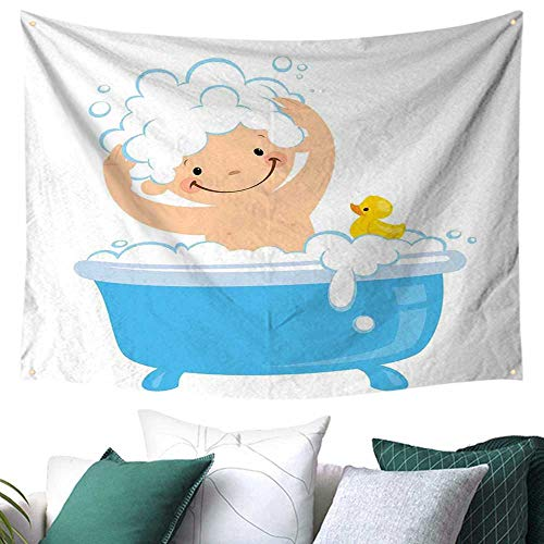 WilliamsDecor Nursery Tapestry for Dorm Baby Boy with Smiley Face Having Bubble Bath with Rubber Duck Kids Theme Art Gift for Sheet/Blanket 84W x 54L Inch White and Blue -