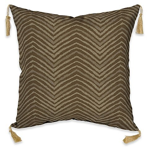 British Colonial Fabric - Bombay Outdoors Zebra Throw Pillow with Tassels in Tan, Sophisticated Classic British Colonial, Basket-Weave and Solid Woven Fabric, Durable, Fade Resistant, Square, 16