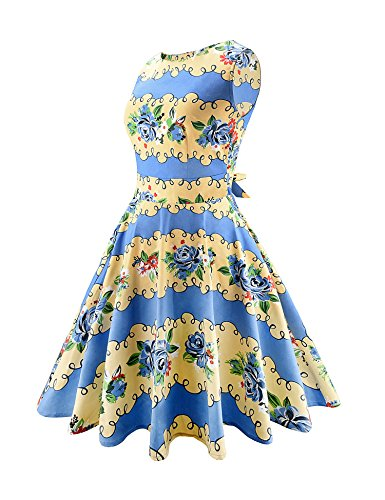 Party Dress Vintage ARANEE 02 Picnic Floral Classy yellow Sleeveless Blue Party Cocktail w1RnqFUR