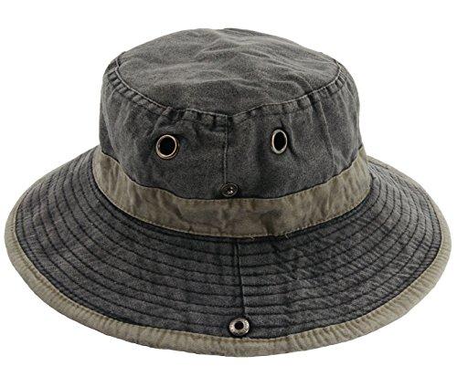 Ledamon Men's Fisherman Sun Hat UV Protection Outdoor Hiking Fishing Washed Cotton Hat (Charcoal Grey)