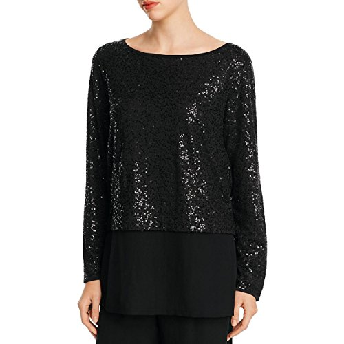 Eileen Fisher Womens Petites Silk Sequined Blouse Black - Fisher Eileen Silk Womens