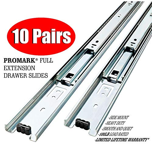 10 Pack Promark Full Extension Drawer Slide (22 - Drawer Pro Garage 3 Base