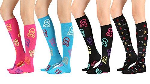 STYLEGAGA Women's Casual Knee High Socks (One Size : XS to M, Skull & Crossbones-4P) -