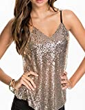 HaoDuoYi Women's Sparkly Sequin V Neck Spaghetti Strap Sweet Party Top Shirt(XXL,Gold)