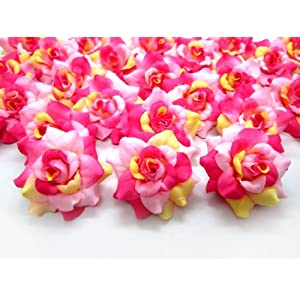 "(100) Silk Cream Pink Roses Flower Head - 1.75"" - Artificial Flowers Heads Fabric Floral Supplies Wholesale Lot for Wedding Flowers Accessories Make Bridal Hair Clips Headbands Dress 27"