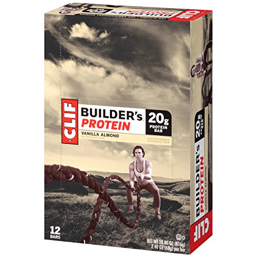 CLIF BUILDER'S - Protein Bar - Vanilla Almond - (2.4 Ounce Non-GMO Bar, 12 Count)
