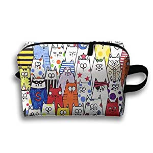 Colorful Emoji Cat Receive Bag Toiletry Bag Canvas Wash Bag Foldable Multi-function Makeup Pouch Portable Storage Bag Travel Bag