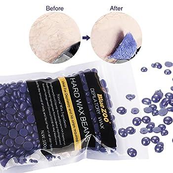 Hair Removal Hard Wax Bean, LuckyFine Depilatory Wax Lavender Wax Tea Tree Depilatory Wax Full Body Wax Bikini Wax For Depilatory on All kinds of Skin Types 100g Purple