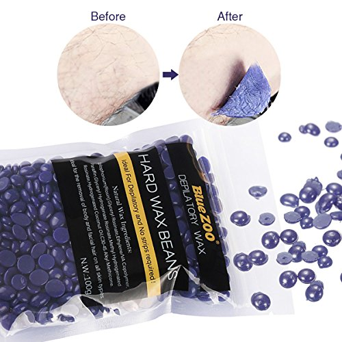 Hair Removal Wax Bean, LuckyFine Depilatory Pellet Waxing Lavender Tea Tree Full-Body Bikini For Depilatory on All kinds of Skin Types 100g Purple